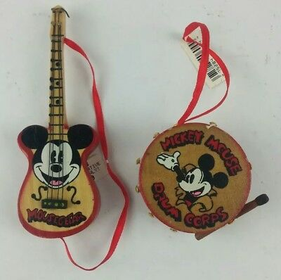 1990 VTG Kurt S Adler Wooden Disney Ornaments Mousegetar & Drum Corps NWT