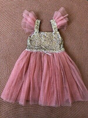 Molly & Star Dusty Pink Girls Sequins Taffeta Dress, Size 2-3