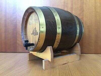 Vintage Oak Barrel 3 Litre Money Box 1970s With Stand Bung Deluxe Man Cave