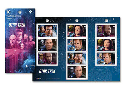 Star Trek 2017 Canada Post Leaders Booklet of 10 Stamps and Collector Packaging