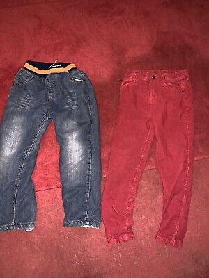Boys Fleece Lined Jeans Next Red Thick Lined Cords M&s 5-6 Years
