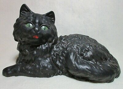 Vintage Cast Iron Black Cat Doorstop By Iron Art From Hubley Mold - Great Cond