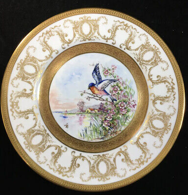 Tharaud Limoges Cheverny Hand Painted 9.875 Inch Gold Encrusted  'BIRD PLATE'
