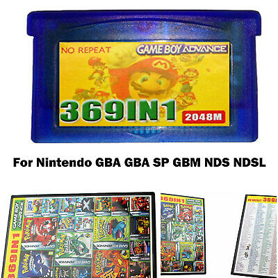 369 in 1 Game Cartridge Multicart for GameBoy GBA NDS GBA SP GBM NDS NDSL