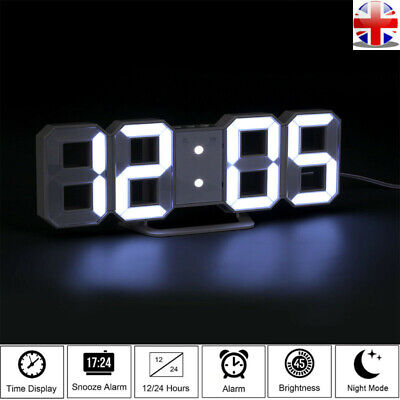 3D Display LED Digital Clock Table Wall Clock Electronic Alarm Snooze USB Charge