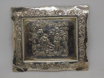Highly Ornate Antique Sterling Silver Pin Tray. Full Hallmarks. 43 grams.