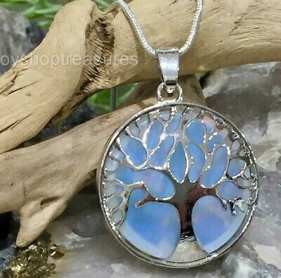 Opalite Crystal healing Tree of Life Necklace