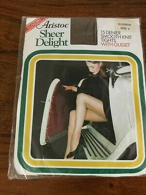 Vintage Aristoc Sheer Delight 15 Den Tights Smooth Knit Illusion Size 2 Luxury