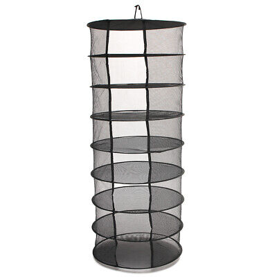 2ft 8 Layer Black Mesh Collapsible Hanging Herb Hydroponic Drying Dryer Rack