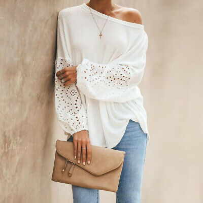 Womens Puff Sleeve Casual Shirts One Shoulder Long Sleeve Tops Blouse Oversized