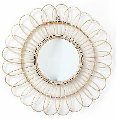 Retro Sun Burst Mirror Wicker Rattan Willow Bamboo Glass Wall Hanging 40cm UK