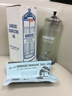Barbicide Vintage Disinfecting Jar From Kings Research Inc In Box With Instructi