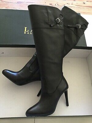 NIB Ralph Lauren Women's Black Leather Vachetta Knee High Boots Size 5.5