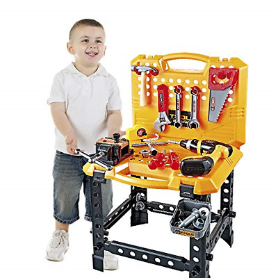 Toy Choi's 100 Pieces Kids Construction Toy Workbench for Toddlers, Kids Tool