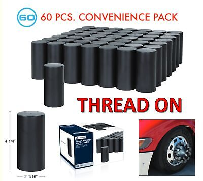 "(Set/60) Black Cylinder Lug Nut Covers 33mm Thread-On (4-1/4"" Long) 60-Pack"