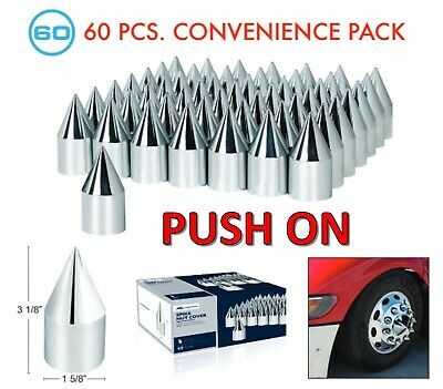 "(Set/60) Chrome Spike Lug Nut Covers 33mm Push-On (3-1/8"" Long) 60-Pack"