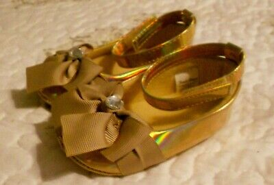 First Steps Baby Girls Gold Maryjane Holiday Dressy Bow Shoes Sz 6 Months 6M