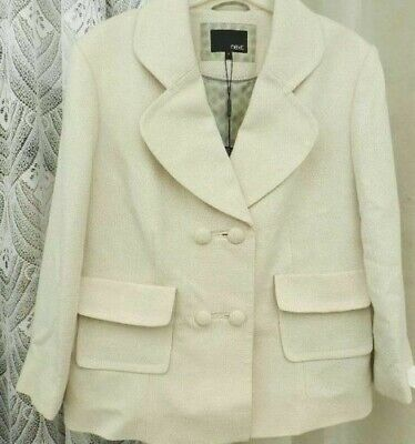 ( Ref 2020 ) Next - Size 16 - Cream Lined Tailored Formal Jacket / Coat Wedding