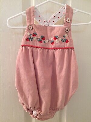 Baby Mini Boden Girls Pink Corduroy Strawberry Bubble Romper 3-6 Months NWT