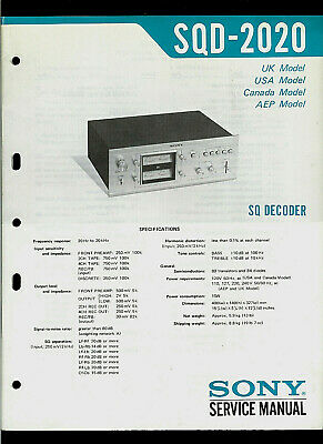 Sony SQD 2020 4 Channel Decoder Original Factory Service Manual Guide