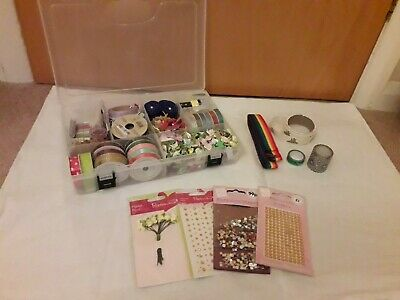 Scrapbooking Craft Box - Washi Tape, Glitter, Beads & Bits & Bobs - Ribbon, Pegs