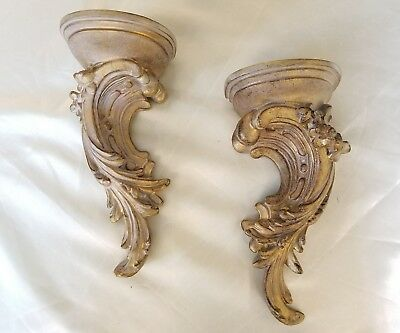 Vtg Mid Century French Pair Gold/Silver Ornate Carved Scroll Shelves Shabby Chic