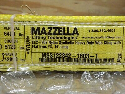 Mazzella EE2-902 Polyester Web Sling, Eye-and-Eye, Yellow, 2 Ply, 14' Length, 2""