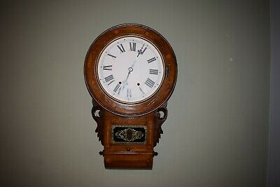 Antique  Wooden Large Drop down  Wall Clock with Pendulum, Inlay for restoration