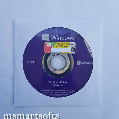 Microsoft Window 10 Professional Pro 64bit DVD + COA Product Key