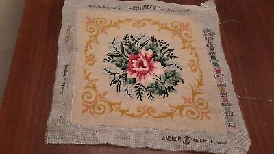 Completed  Roses Needlepoint Tapestry for cushion front