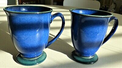 Denby HARLEQUIN Pair of Mugs (2)  Blue / green footed
