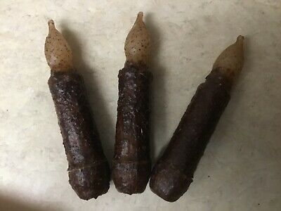 """THREE Primitive Dark Brown LED 4.5"""" Battery Operated TIMER Taper Candles"""