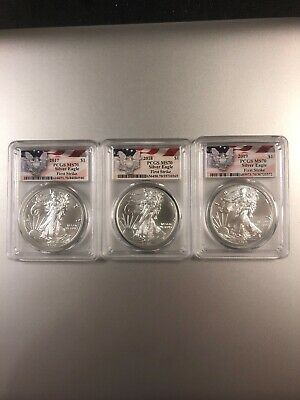 PCGS MS70 First Strike 2017-2018-2019 Silver Eagles. Special Eagle Label