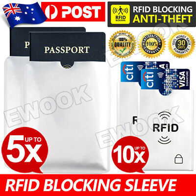 5x Passport + 10x RFID Blocking ID Credit Card Protector Sleeve Shield Holder