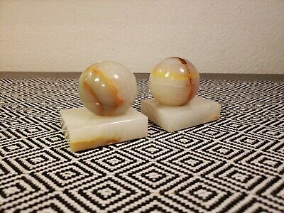 Mid Century Onyx Marble Stone Sphere On Block Geometric Bookends/Paperweights***