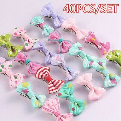 40pcs Baby Bows Hairs Clips Hairpins Babies Kids Hairpin Alligator Clips UK