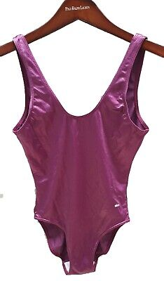 VINTAGE Bathers Size 12 Festival One Peice Swimsuit Shiny Purple Very Good Cond