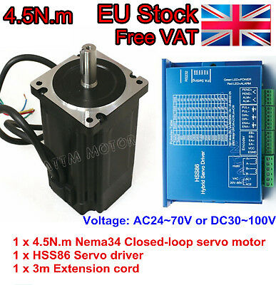 (EU) Nema34 4.5N.m Servo Closed loop Motor L82mm 6A&HSS86 Driver&Encoder&3m Wire