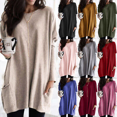Plus Size Women Long Sleeve Casual Baggy Tunic Top Lady Jumper Pullover Blouse