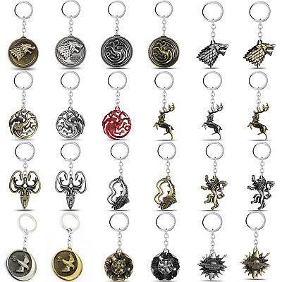 1pcs Metal Keyring Keychain Game Of Thrones Family Crest Badge Pendant Key Ring