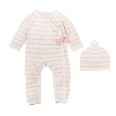 Mud Pie H9 Bundle Me Up Baby Girl Pink Ivory Knitted Gift Set 10190047