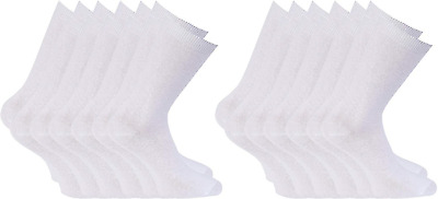 12 Pairs Boys Girls Short Ankle Cotton Rich Plain School Ayra® Socks Shoe Size: