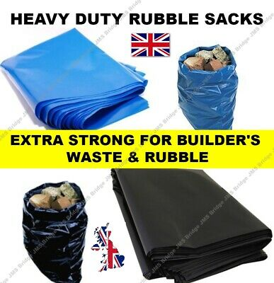 Extra Strong Heavy Duty Black or Blue Rubble Sacks High Strength Bags 30KG