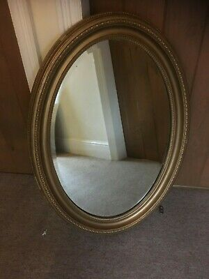 Antique Solid Wood Late Victorian Edwardian Gold Bevelled Edged Oval Wall Mirror