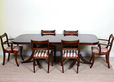 Antique Dining Table And 6 Chairs Mahogany Vintage Regency Revival