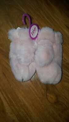 Bnwt Ted Baker  girls Fur PINK Mittens 3-6 Years