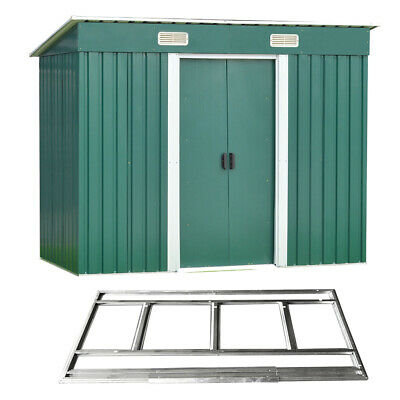 New 8x4ft Garden Shed Metal Pent Roof Outdoor Tool Storage With Free Foundation