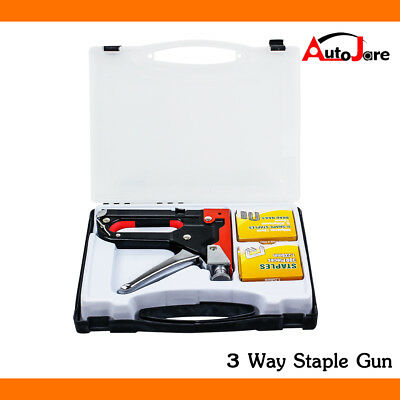 3 in 1 HEAVY DUTY STAPLE GUN TACKER UPHOLSTERY STAPLER + 900 Nails Fastener Tool