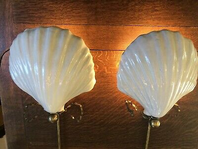 A+ Fabulous Pair Vintage Deco Hollywood Regency Shell Wall Sconce Lamp Lights