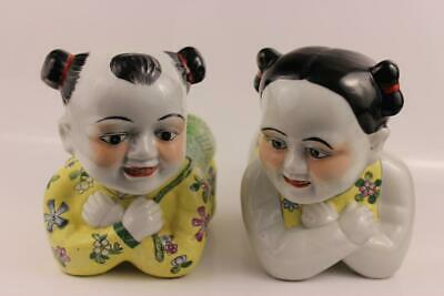 Pair Antique Chinese Porcelain Pillow Children 25x16x13cm Weighs 1kg Each